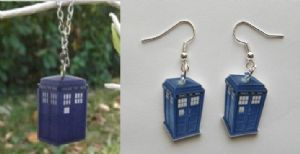 Doctor Who TARDIS Necklace and Earring set, blue box, replica set